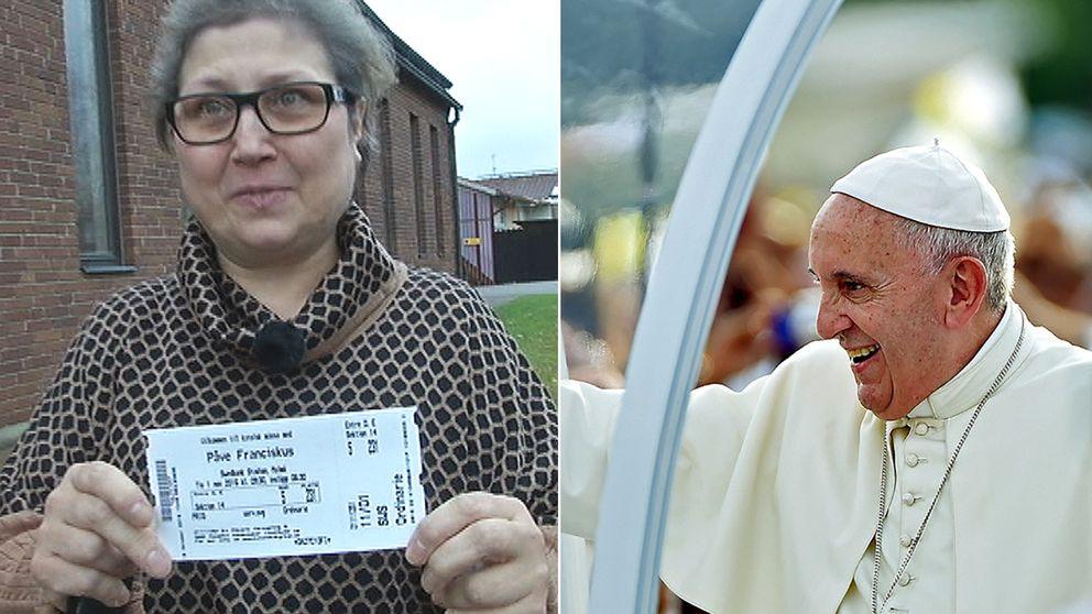Kvinna med biljett. Påven.