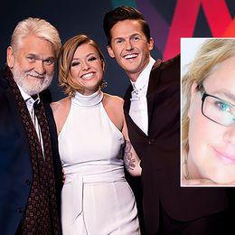 Programledare i Melodifestivalen. Kvinna infälld.