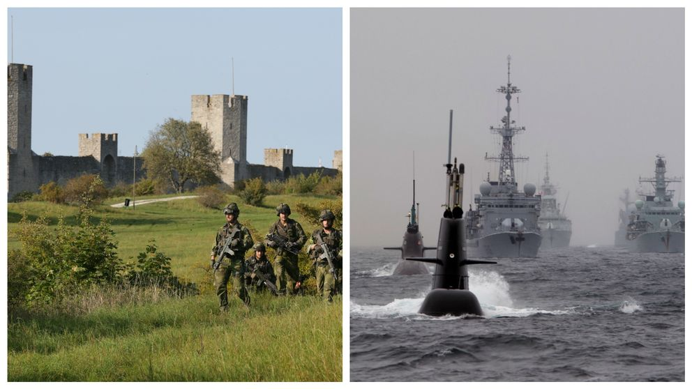 Montage Gotland och ubåtar.
