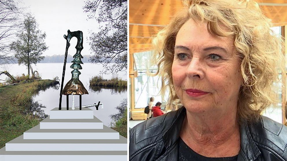 Statyn Pissed Elin vid Växjösjön och Eva Johansson (C).