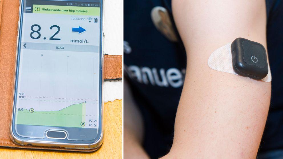 En bild av hur värdena visas i mobilen samt hur transmittern sitter fast på armen.