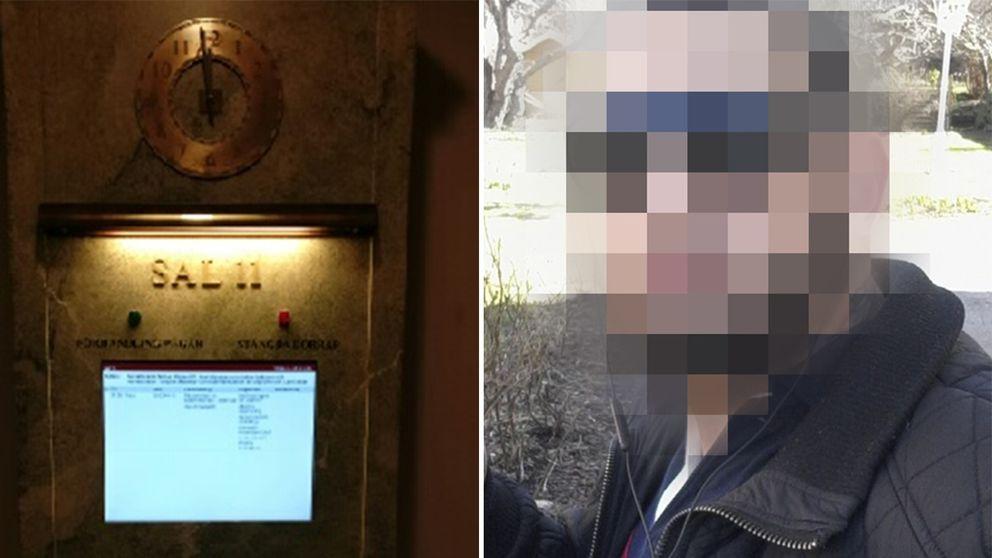 Bild från hovrätten och en pixlad bild på den misstänkte.