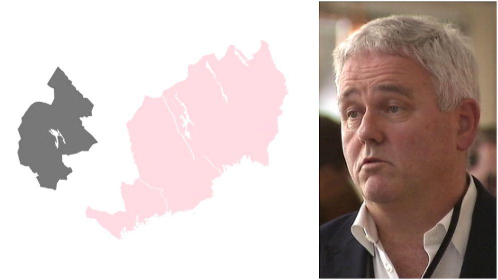 Karta på Jämtlands län för sig och Västernorrland, Västerbotten, Norrbotten för sig. Bild på gråhårig man i kostym