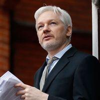 Arkivbild på Julian Assange som håller tal på en balkong på Ecuadors ambassad i London.