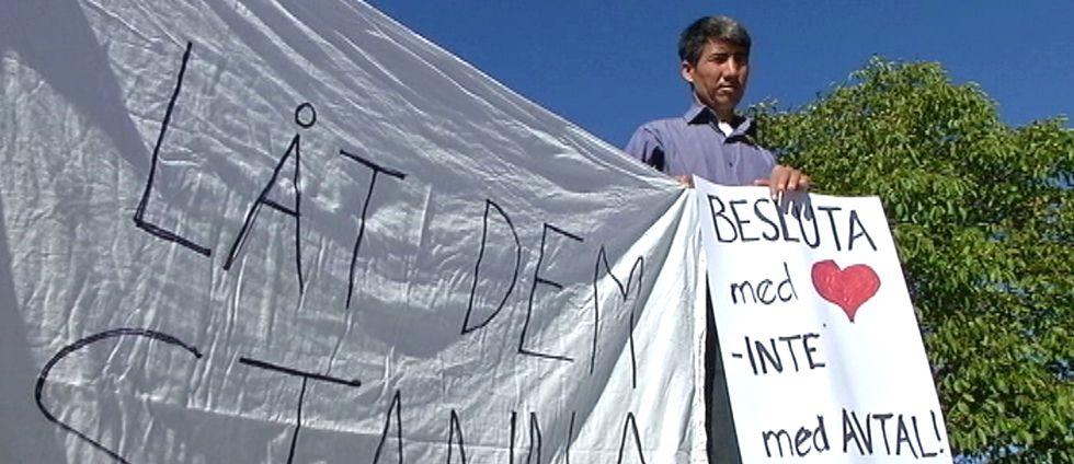 asylsökanden protesterar mot flytt