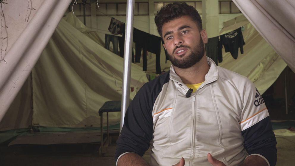 Mostafa Hosan i ett flyktingläger i Grekland.