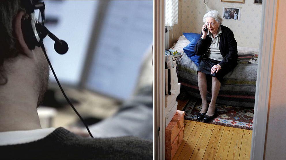 Manlig försäljare och äldre kvinna med telefon