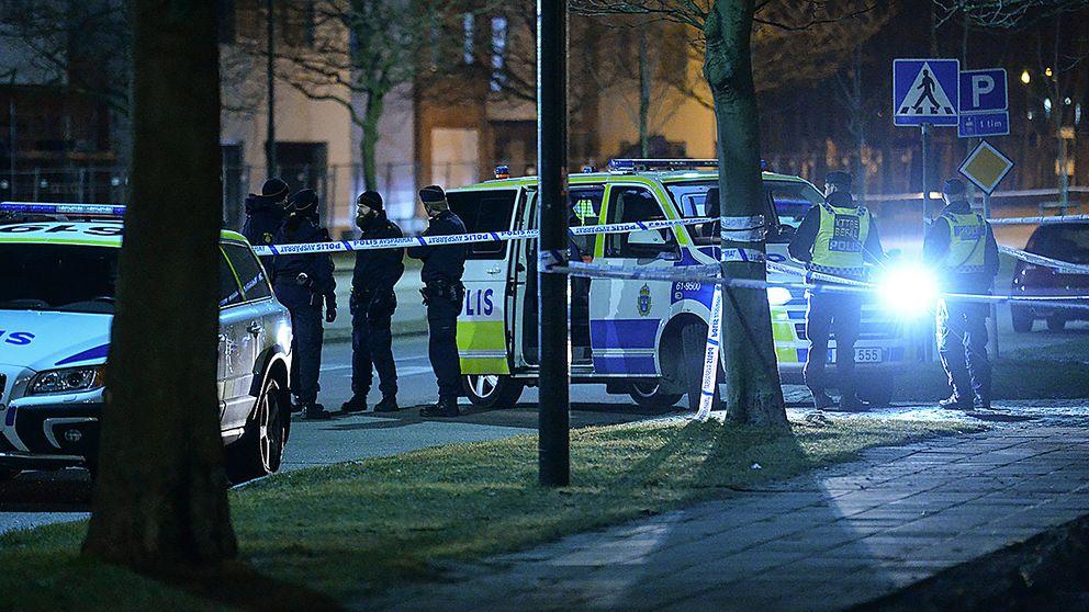 Polispådrag efter dödsskjutning i Malmö den 29 februari 2016.