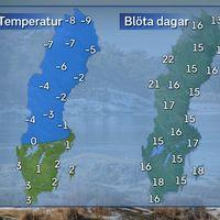 Till vänster: Dagstemperatur en normal decemberdag i mitten av månaden. Till höger: Normalt antal blöta dagar i december.