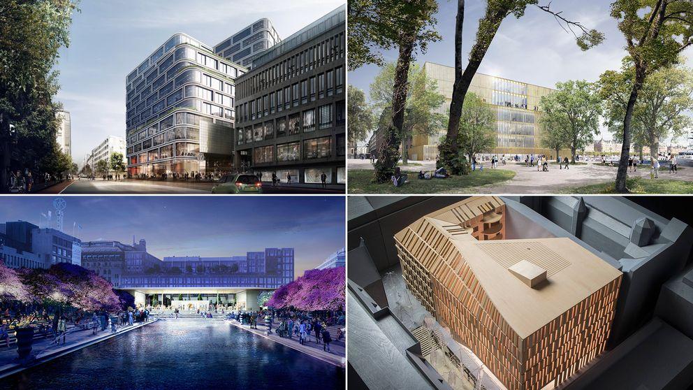 Fyra förslag på nya byggnader, medurs: Nytt hus på Mäster Samuelsgatan/Regeringsgatan. Nobel Center på Blasieholmen. Ny flygel på Astoriahuset vid Nybrogatan. Applebutik vid Kungsträdgården.