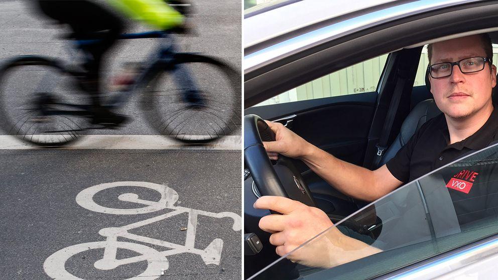 Cykel på cykelbana. Trafiklärare i bil.