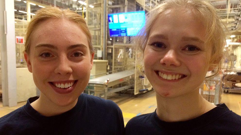 Två av de ungdomar som fått praktik genom Tekniksprånget är Sofie Ekström och Cassandra Neuman.