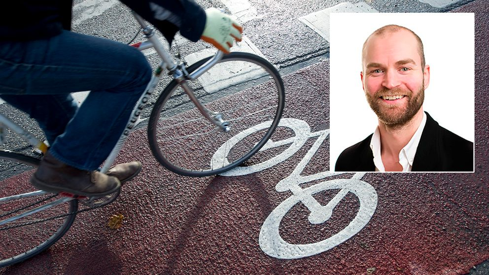 Cykel på cykelbana och porträttbild på Lars Strömgren.