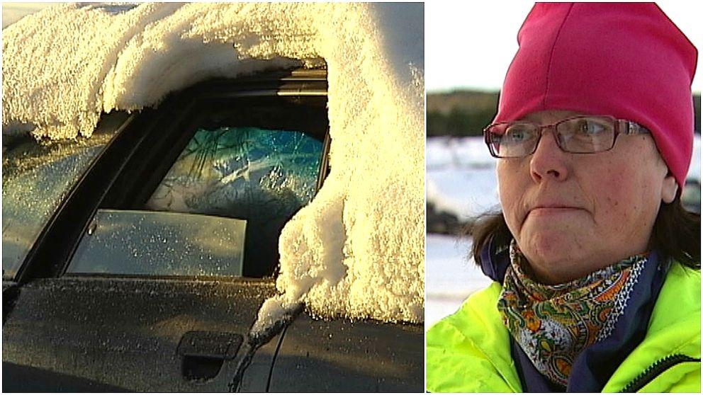 Översnöad skrotbil och kvinna i glasögon och rosa mössa