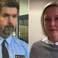 Polisområdeschef Patrik Oldin och vice ordförande i Polisförbundet Annifrid Johannesson.