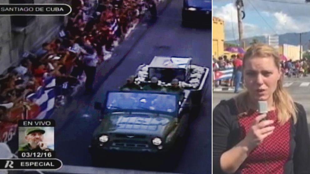 SVT Nyheters Carina Bergfeldt är på plats i Santiago de Cuba dit den avlidne ex-diktatorns nu anlänt inför begravningen.