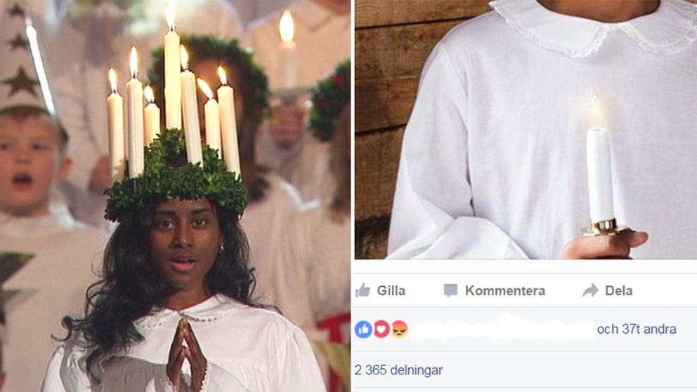 Astrid var lucia i tv 2012, och utsattes för rasistiska påhopp.