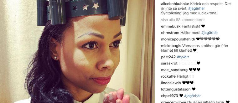 Kulturminister Alice Bah Kuhnke postade en bild på sig själv på Instagram för att visa solidaritet med den pojke som fått utstå rasistiska kommentarer.