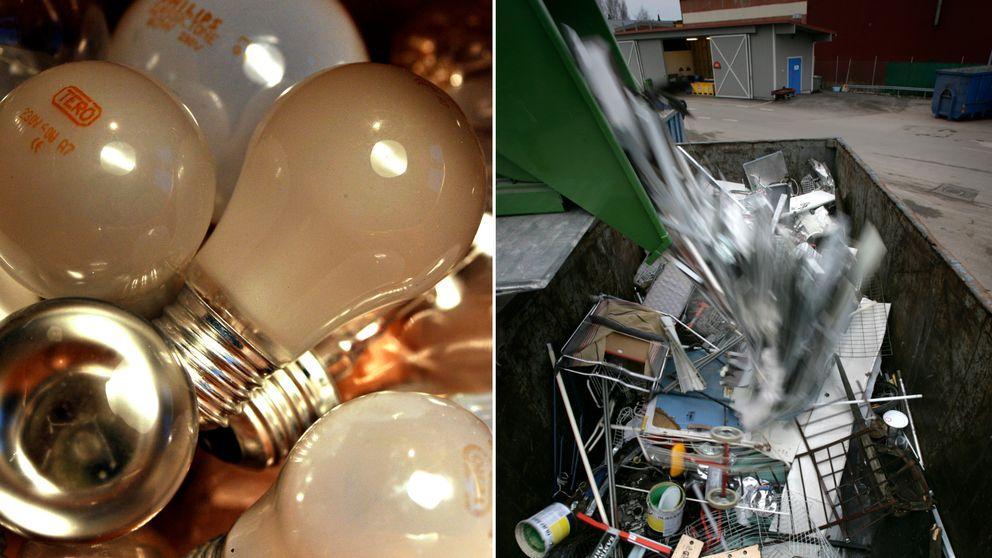 glödlampor och elavfall