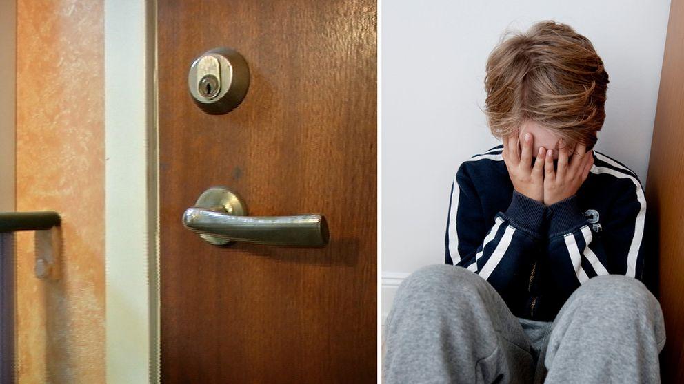 Bild på dörr i lägenhetshus, och på liten pojke som har händerna för ansiktet.