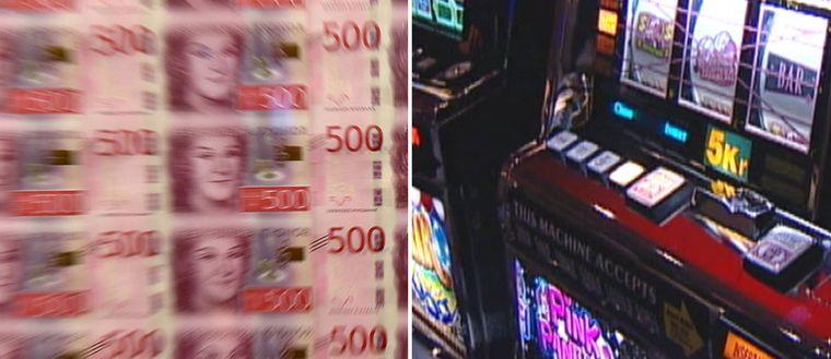 Ett montage av pengar och en spelautomat.