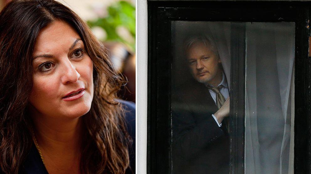Elisabeth Massi Fritz, målsägarbiträde till kvinnan, och Julian Assange på Ecuadors ambassad i London.