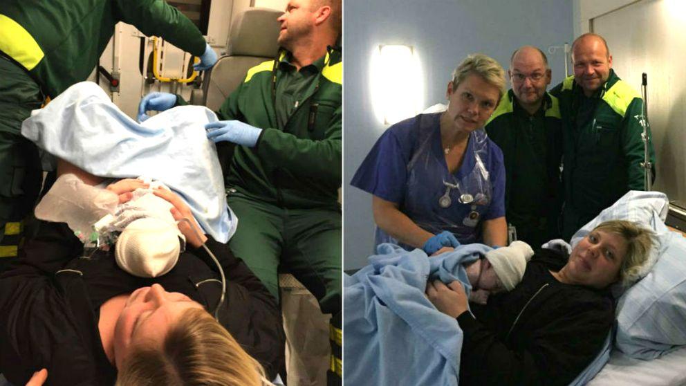 Mamman Johanna Magnusson med dottern Wilma. Ambulansförarna Gustaf Lindgren och Anders Mårtensson, samt barnmorskan Anne Melbe.