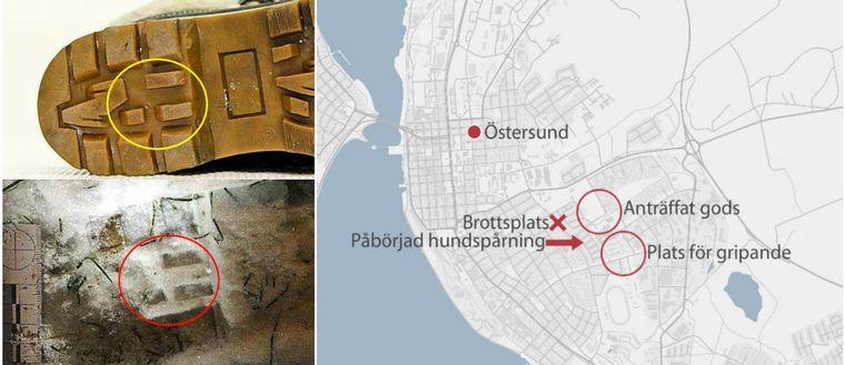 En bild från polisens förundersökning på skosula och spår isnön, samt en kartbild som markerar ut brottsplats, anträffat gods, påbörjad hundspårning samt plats för gripandet.