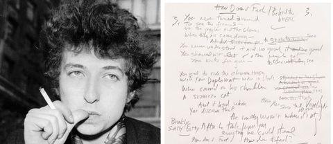 """Bob Dylan 1965 och Dylans originalanteckningar till vad som kom att bli sången """"Like a rolling stone""""."""