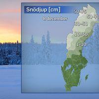 Grov analys av snödjupet på morgonen den 8 december 2016.