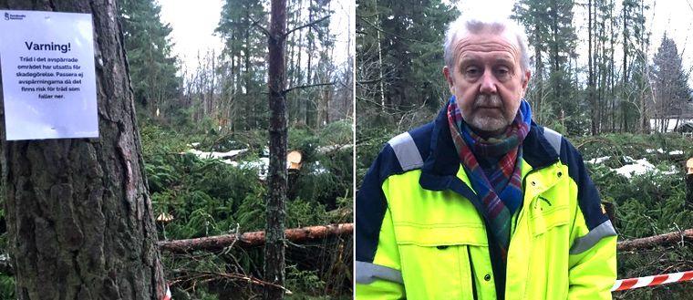 Collage avspärrat område och sektionschef Tomas Häggström Sundsvall .