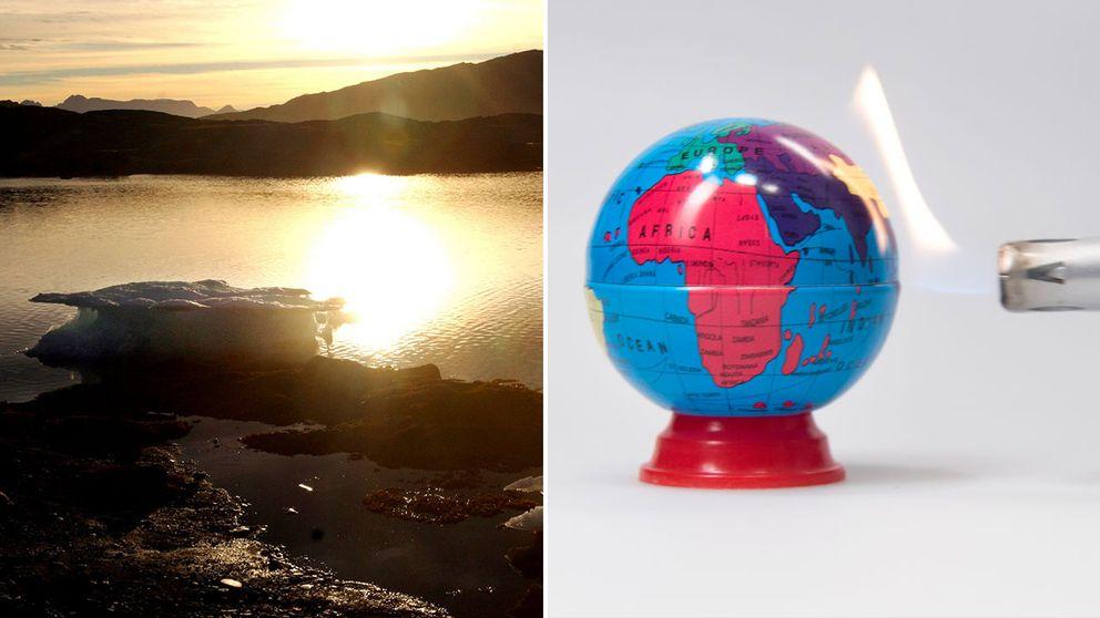 Smältande isar på Grönland, och en jordglob som värms av en eldslåga.