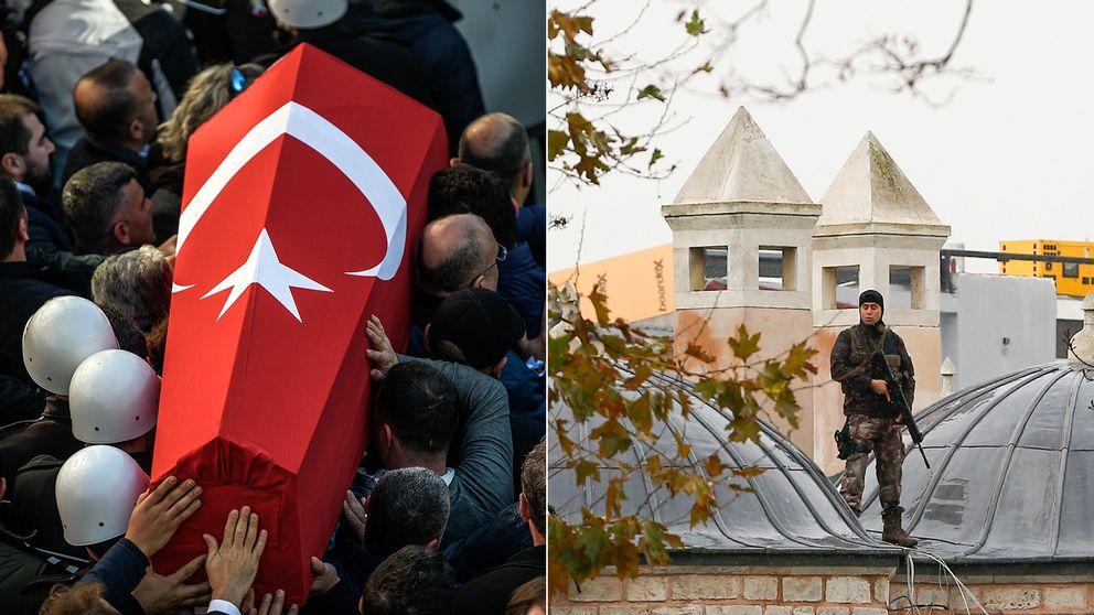 Officerare bör kistan vid en av bombdådens offers begravning på söndagen i Turkiet.