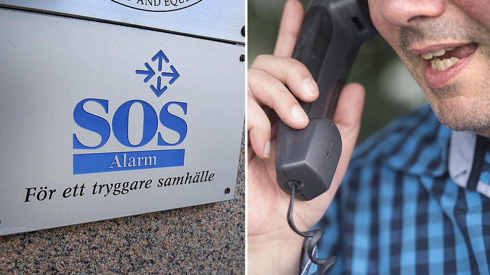 En SOS Alarm-logga och en man som håller en telefonlur.