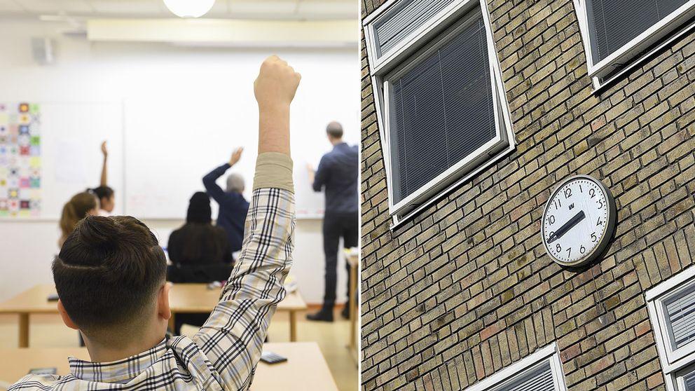 En pojke i ett klassrum och en klocka på en skolfasad.