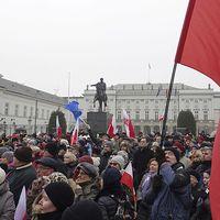 Demonstranter som demonstrerar utanför parlamentet.