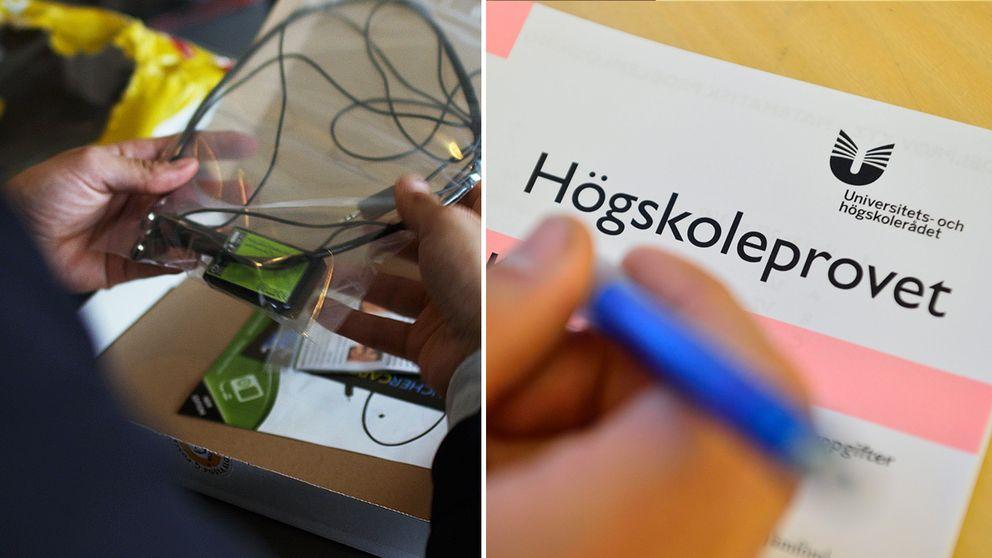 Allt som krävs för att fuska sig till toppresultat på högskoleprovet är en liten dosa som man kopplar till sin telefon, ett tunt kopparhalsband och små trådlösa öronsnäckor.