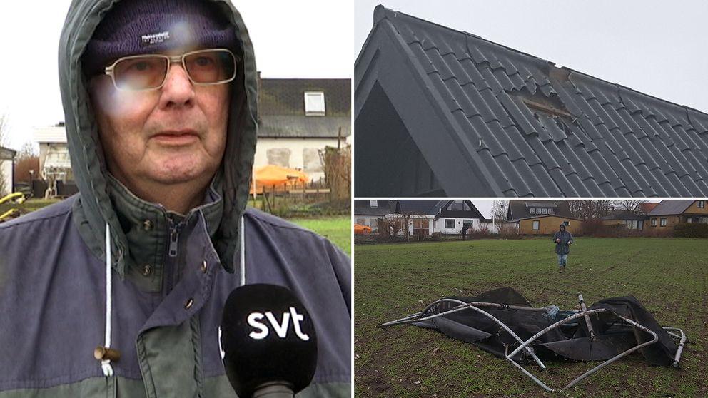 Studsmattan flög hundra meter i misstänkt tromb. Åke Larsson.
