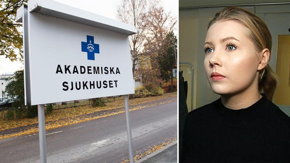 Akademiska sjukhuset skylt och Siri Strand