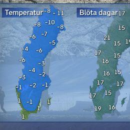 Till vänster: Dagstemperatur en normal januaridag i mitten av månaden. Till höger: Normalt antal blöta dagar i januari