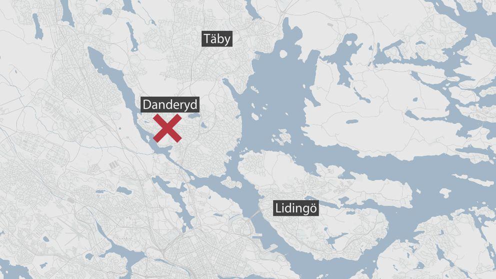 Karta som markerar Danderyd.