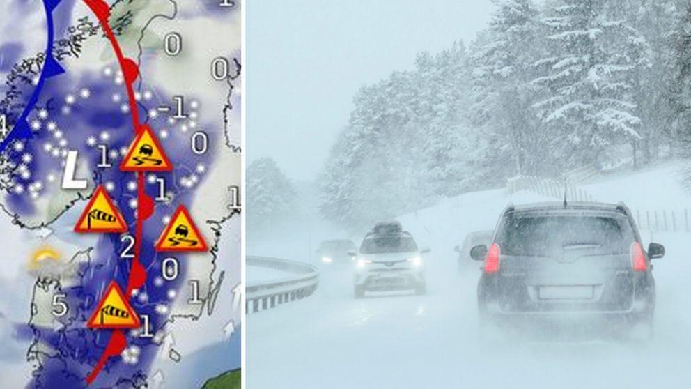 Väderkarta som visar på kraftigt snöfall och en bil på en snöig väg