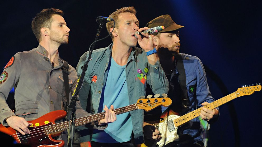 Guy Berryman, Chris Martin och Jonny Buckland från Coldplay.