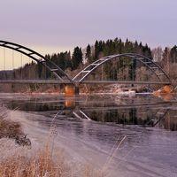 Trevande vinter vid Klarälven i värmländska Ransäter den 6 december.