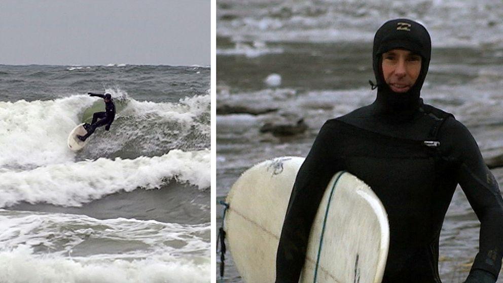 vågsurfing i Salusand