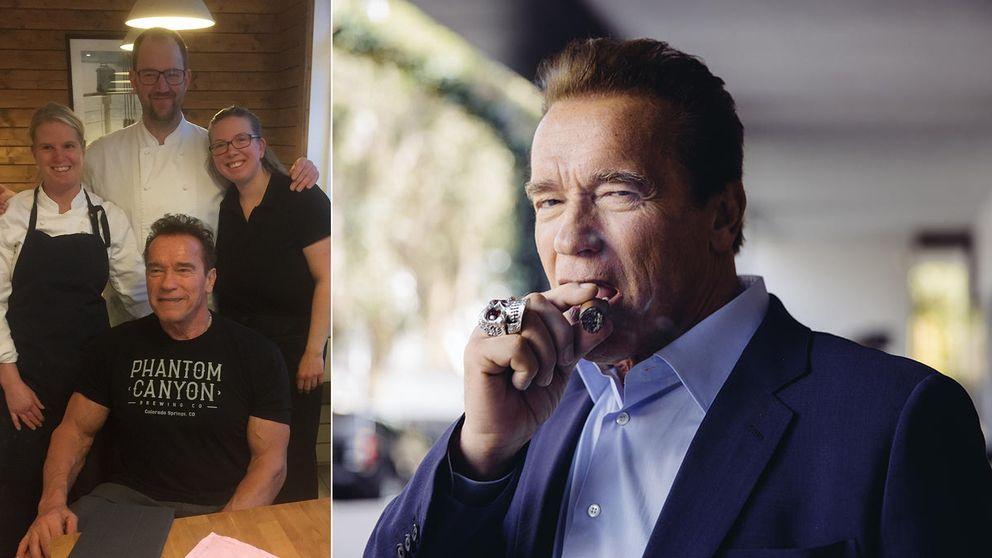 Arnold Schwarzenegger äter frukost på ett café i Billdal.