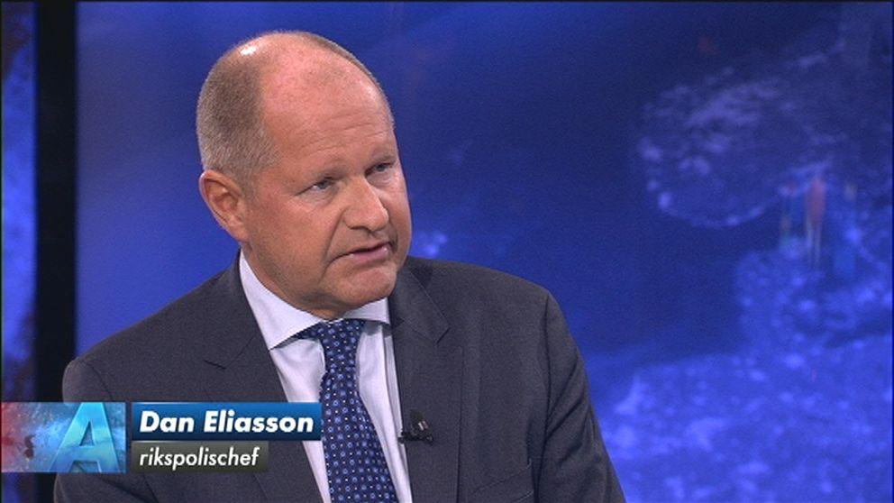 Rikspolischefen Dan Eliasson i torsdagens Aktuellt.