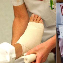 Bandage på en fot och en bild på advokatfirmans hemsida.