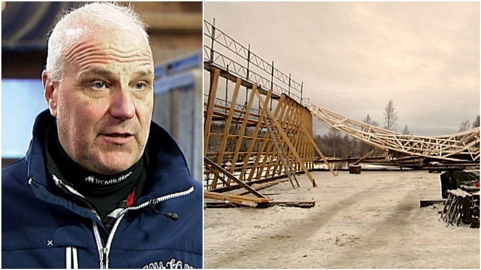 En bild på Jan-Olov Persson och en bild på det bygge som han förnekar.
