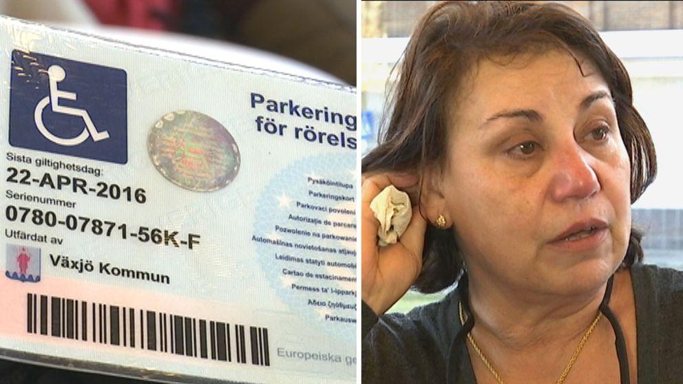 Dalala Abdel-Gani Pettersson har ont i ryggen och svårt att gå längre sträckor. Sedan Växjö kommun drog in hennes parkeringstillstånd har hon svårt att klara av sitt jobb som tolk.